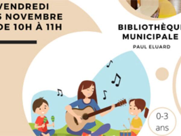 BIBLIOTHÈQUE : EVEIL MUSICAL VENDREDI 5 NOVEMBRE